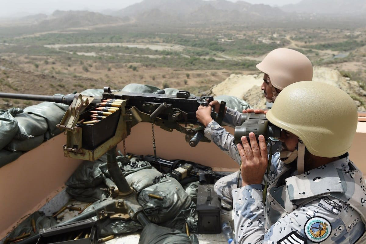 Members of the Saudi border guard are stationed at a look-out point on the Saudi-Yemeni border, in southwestern Saudi Arabia. (AFP file photo]