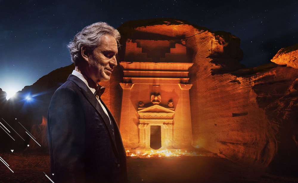 The performance will see Andrea Bocelli, 62, perform against the backdrop of Nabataean tombs in the ancient city of Hegra. (Supplied)