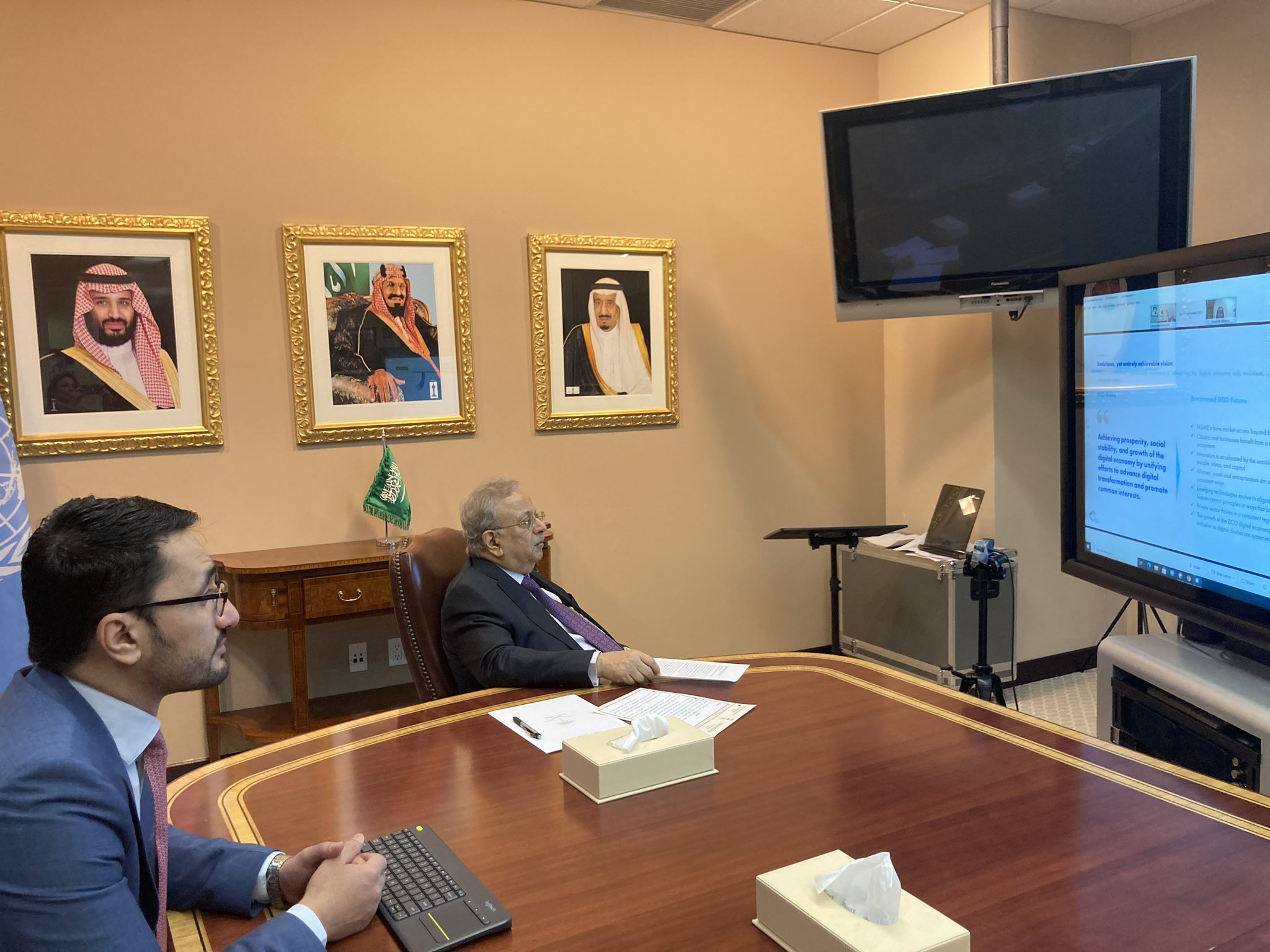 Saudi Arabia's ambassador to the UN, Abdallah Al-Mouallimi chaired a virtual meeting on Myanmar. (File/Twitter/@ksamissionun)