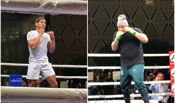 Andy Ruiz Jr. and Anthony Joshua focused on world heavyweight glory as they showcase skills at Riyadh public workout