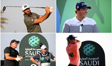 Clockwise from top left: Dustin Johnson, Patrick Reed, Bryson DeChambeau and Phil Mickelson all said they were glad to be back competing in Saudi Arabia. (Supplied)