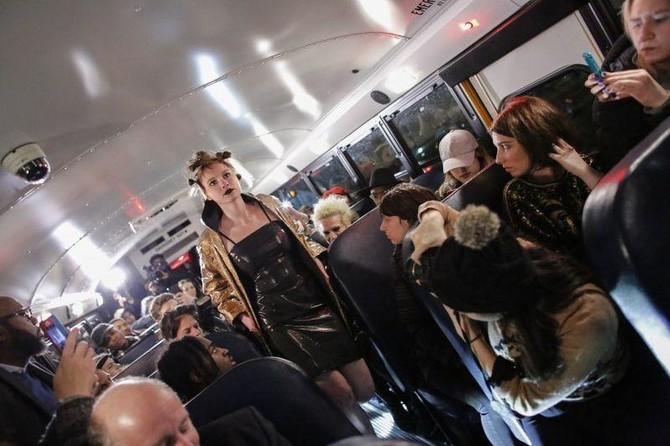 Artist makes NY fashion week debut... on a bus