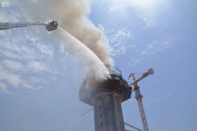 Fire hits building under construction in northern Saudi Arabia