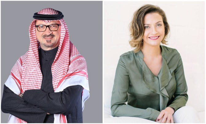 Dr. Khaled Al-Dhaher, country managing director for Accenture in Saudi Arabia and Dawn Metcalfe, an author and workplace culture advisor. (Accenture/Supplied)