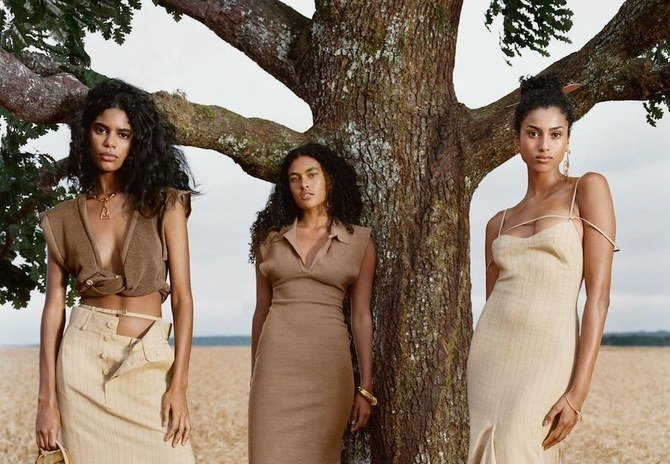 Moroccan-Egyptian-Dutch catwalker Imaan Hammam (right) stars in the Jacquemus SS21 campaign. Instagram