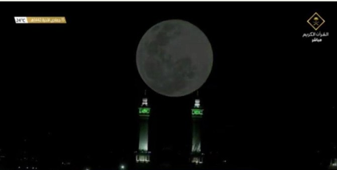 Moon aligns directly above Kaaba in Makkah's Grand Mosque