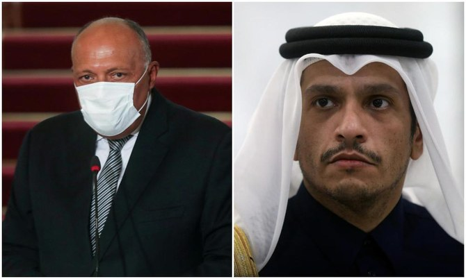 Egyptian Foreign Minister Sameh Shoukry (L) and Qatari foreign minister Sheikh Mohammed bin Abdulrahman Al-Thani (R). (Reuters/File Photos)