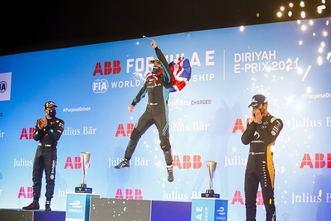 Sam Bird of Jaguar Racing won the second round of the Diriyah E-Prix double-header when a late safety car meant that the race was ended prematurely with a red flag. (Supplied)