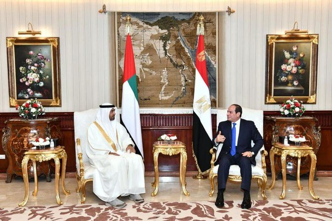 Egypt's President El-Sisi received Abu Dhabi Crown Prince Mohammed bin Zayed in Cairo. (Facebook/Egyptian Presidency)