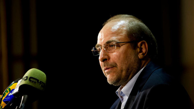 Iranian Parliament speaker Mohammad Baqer Ghalibaf speaks during a press conference. (AFP)